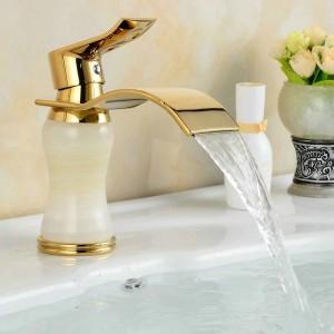 Europa Corpo di lusso bianco monoforo placcato oro realizzato in rubinetti per lavabo da bagno in giada naturale 1011