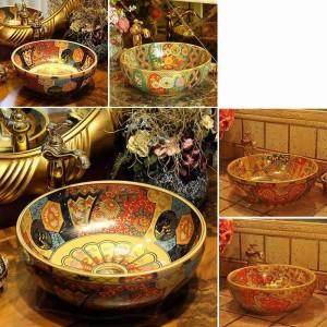 Lavabo da appoggio in ceramica in stile vintage in Europa, lavabo da bagno, lavabo antico tondo