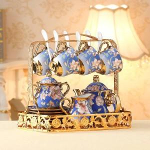 Set di tazzine e piattini da tè in ceramica europei Set di tazze da caffè in osso color avorio Set di scodelle da tè in ciotola di zucchero color crema