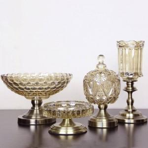 Piatto di frutta europeo Piatto da frutta in cristallo Ornamenti decorativi di lusso moderni a tre pezzi