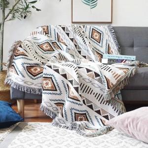 Geometria europea Coperta da tiro Divano Copridivano decorativo Cobertor su divano / piano Plaid da viaggio Coperte antiscivolo