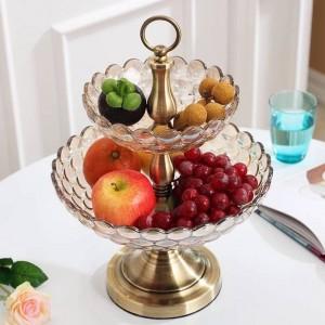 Vendite dirette della fabbrica dei gioielli del salone della decorazione della casa della ciotola di frutta a doppio strato di vetro europeo