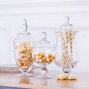 Vaso di caramelle europeo di alta qualità Bottiglia di vetro soffiato artificiale Decorazione da tavola da dessert per dessert da tavola Snack per biscotti