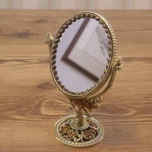 Specchio da toeletta retrò europeo bagno camera da letto specchio da trucco in bronzo specchio decorativo bilaterale in metallo creativo wx8230930