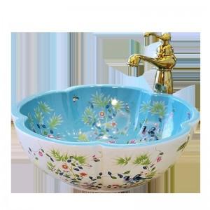 Lavandini del bagno del lavabo del bacino di arte di stile europeo a forma di fiore lavabo in ceramica modello di fiore e uccello