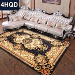 Coperta da letto in stile europeo da salotto con divano e moquette, coperta da letto addensata a mano con crittografia a fiori