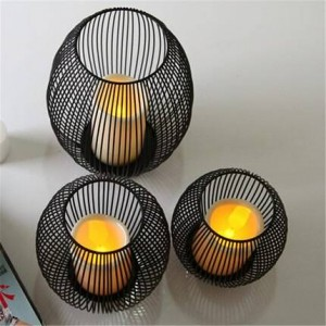 Portacandele in ferro battuto europeo cena a lume di candela oggetti di scena artigianato ornamenti ornamenti lampada a vento mediterranea gabbia per uccelli