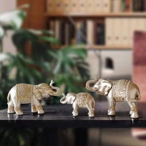 Famiglia elefante Figurine resina Thailandia elefante statua per ufficio Soggiorno decorazioni fatte a mano decorazioni per la casa simpatici animali ornamenti
