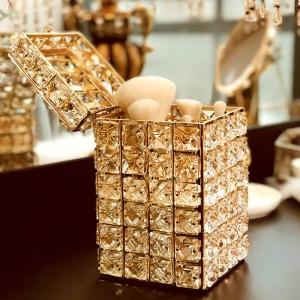 Supporto per penne per organizzatore di pennelli per trucco da tavolo in cristallo dorato di moda con coperchio Scatola portaoggetti quadrata con matita per sopracciglia