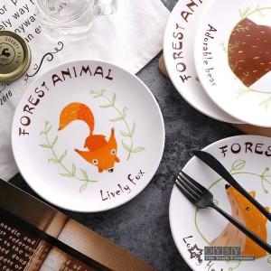Fashion Style 8 * pollici Dia Bone Piatti di riso in ceramica Cartone animato Modello Porcellana Stoviglie Insalata Sushi Piatto da torta