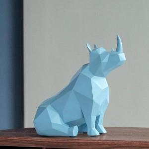 Figurina animale Europeo Creativo resina regali decorazioni da tavolo statua per ufficio decorazioni per la casa rinoceronte ornamenti Statua Scrivania