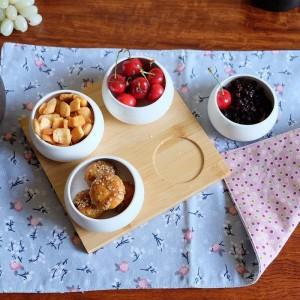 Set da cinque pezzi Vassoi da portata Piatti da portata Piatti in ceramica creativa per snack / frutta a guscio / dessert Vassoio in bambù naturale ecologico
