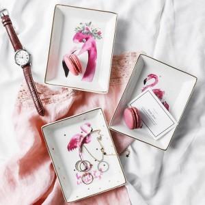 Flamingo Pattern Ceramica Storage Plate INS Minimalista Dessert Gioielli Varie Contenitore Decor Scrivania Organizzatore per la casa