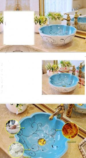 A forma di fiore Lavabo antico stile europeo Lavabo Lavandino Lavabo dipinto a mano lavello vaso decorativo in ceramica