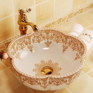 Lavabo da bagno in ceramica a forma di fiore Lavabo da appoggio Lavabo da bagno Lavello con motivo in oro bianco