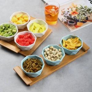 Set da quattro / cinque pezzi Vassoi da portata Piatti da portata Piatti in ceramica creativa per snack / frutta a guscio / dessert Vassoio in bambù naturale eco