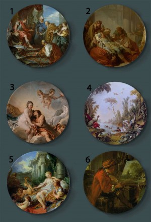 Francois Boucher Pittura Piatti decorativi Piatto artistico per la casa in ceramica Esposizione di sfondo per hotel Piatto per pittura ad olio per signora e ragazzo