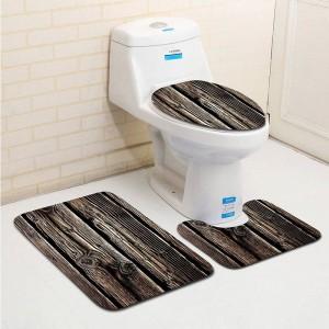 3 pezzi Classc legno di banyo grano bagno bagno servizi igienici tipo U tappetino da bagno set antiscivolo tapis salle de bain alfombra bano