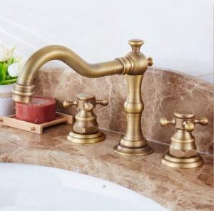Rubinetto per vasca a tre fori miscelatore a tre fori con rubinetto per acqua calda e fredda tutto in ceramica anticato 8205