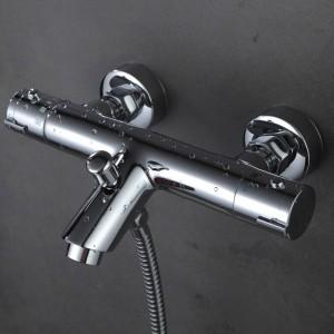 Rubinetto per doccia termostatico per vasca in ottone massiccio cromato lucido con angolo di piega XT329