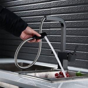 rubinetto da cucina Nero / Nichel estrarre rubinetto da cucina rubinetto per lavabo rotante lavello caldo e freddo LAD-135