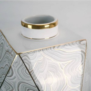 Ornamento di lusso della decorazione della casa della decorazione domestica di lusso del vaso del diamante dell'acqua del vaso ceramico geometrico