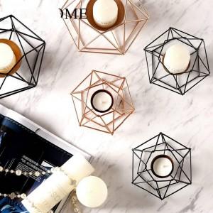 Candeliere geometrico in ferro battuto moderno per la casa decorazione morbida Modello decorazione della stanza Cafe ristorante decorazione candeliere