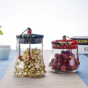 Vasetti di vetro con tappi di sughero per frutta secca speziata ermetica Potjes Bottiglie di stoccaggio domestiche Borosilica decorativa