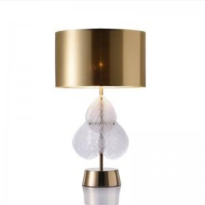Foglie di vetro Posta moderna lampada da tavolo camera da letto comodino lampada creativa designer soggiorno studio Europa panno oro lampada paralume arte