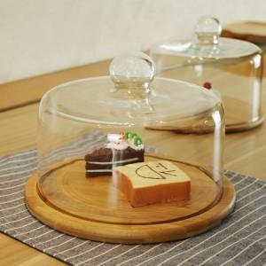 Coperchio in vetro trasparente per frutta Coperchio per torta per tè pomeridiano Coperchio in vetro per legno Vassoio West Point Piatto per dessert Piatto per frutta