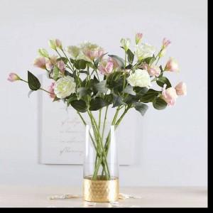 Vaso di vetro Vaso dritto trasparente oro Decorazione per la casa Lamina d'oro Disposizione dei fiori Giglio rosa