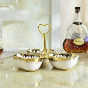 piatto da frutta in ceramica oro piatto da dessert europeo piatto da frutta secca piatti snack piatto caramelle piatti frutta in ceramica