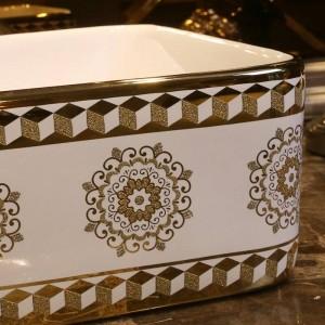 Modello in vetro dorato Lavabo da bagno in ceramica Lavabo da appoggio Lavabo da bagno Vasca da bagno con lavabo rettangolare