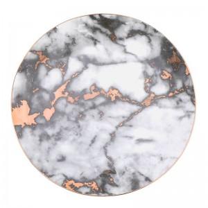 Piatto intarsiato in oro con grana in marmo Piatto in ceramica Piatto da portata unico Piatto da dessert Piatto da portata per piatti