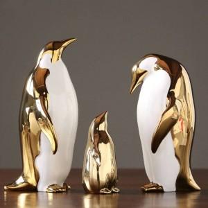 Ornamenti per pinguini in ceramica dorata Casa modello Camera Soggiorno Armadietto TV Armadietto del vino Regali per la decorazione dell'ufficio