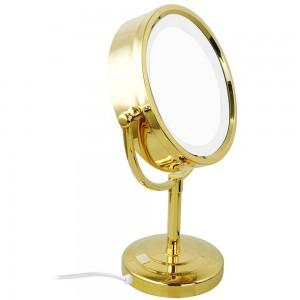 Specchio per il trucco con ingrandimento 10x / 1x con luci a LED Specchio doppio lato rotondo in cristallo con finitura oro M2208DJ
