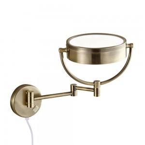 Specchio per trucco illuminato da vanità con ingrandimento 10X Luci a specchio a doppia parete per bagno pieghevole da barba allungato