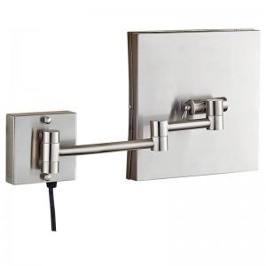 3x specchio cosmetico illuminato da vanità con luci a led e ingrandimento, specchio da bagno quadrato da parete con specchio in nichel