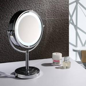 """8.5 """"Luci da specchio a LED per trucco da trucco da tavolo Ingrandimento specchio cosmetico bifacciale x10 e cromo lucido normale"""