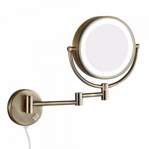 Specchio per il trucco da parete per bagno con luci a led e specchio ingranditore 10X a doppio braccio allungabile pieghevole a doppia faccia antico