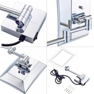 Frameless Rectangle Glamour LED illuminato 3X Specchi ingranditori per trucco Specchio per rasatura da parete per bagno Cromato Lucido