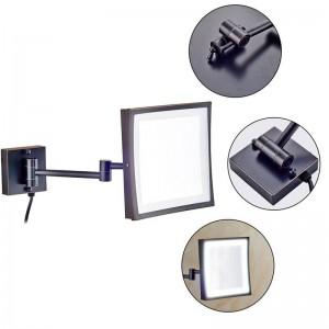 Specchio girevole per hotel 360 con 50 luci a led e specchio quadrato con lente d'ingrandimento 3X con doppio braccio ribaltabile
