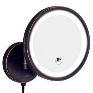 Rasatura dello specchio di trucco illuminata vanità di ingrandimento 10X del bagno dell'hotel, specchio rotondo del supporto della parete con l'ingrandimento 7X / 5X / 3x