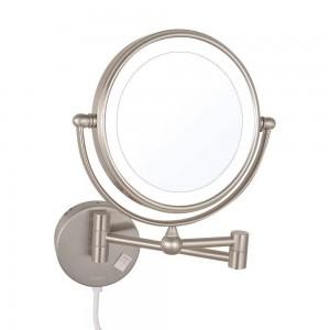 Specchi per trucco a LED con ingrandimento illuminato Specchi da barba pieghevoli allungabili a doppia faccia con luci a led Nichel