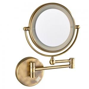 Specchio per trucco da parete a LED illuminato con ingrandimento 7X, bronzo antico lucido, presa elettrica, specchi ruotati a 360 °