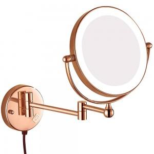 Specchi ingranditori orientabili con specchio per il trucco del bagno a parete con ingrandimento illuminato con presa elettrica, ingrandimento 10x 7x