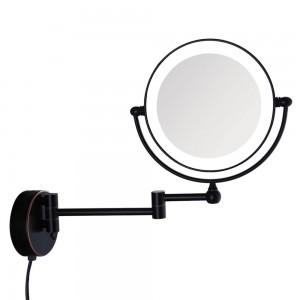 Specchio per trucco da bagno illuminato a parete in bronzo lucidato a olio con presa elettrica con ingrandimento 7X, bracci estesi