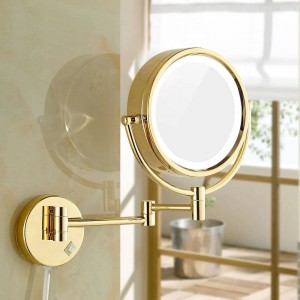 """Specchi per trucco da barba con luci a LED e ingrandimento 10x / 1X Specchio da parete per bagno illuminato da specchio oro 8.5 """""""