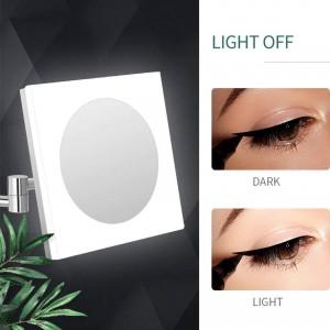 Specchio cosmetico estensibile per il trucco della vanità del bagno a parete con luci a LED e ingrandimento 10X / 7X / 5X, cromato lucido, quadrato