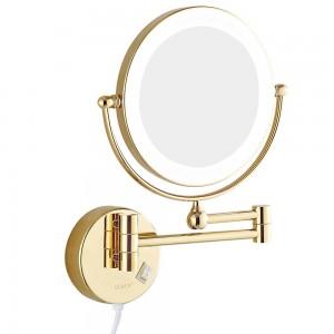 """Specchi per il trucco del bagno a parete con luci a led e specchio ingranditore da 7x ingrandimento bifacciale allungato oro 8 """""""
